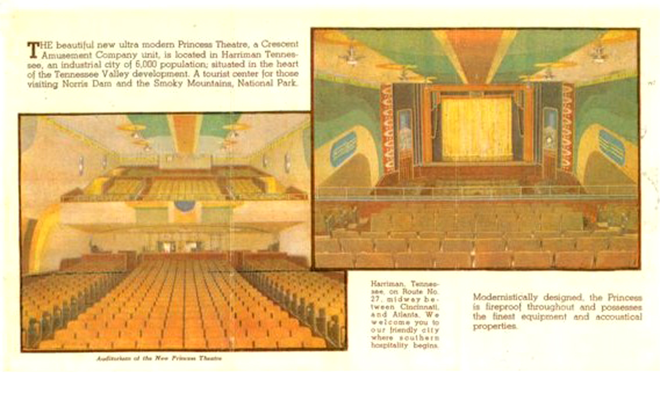 Interior views of Princess auditorium taken before the 1939 grand opening.  These are the only known images of the historic interior.