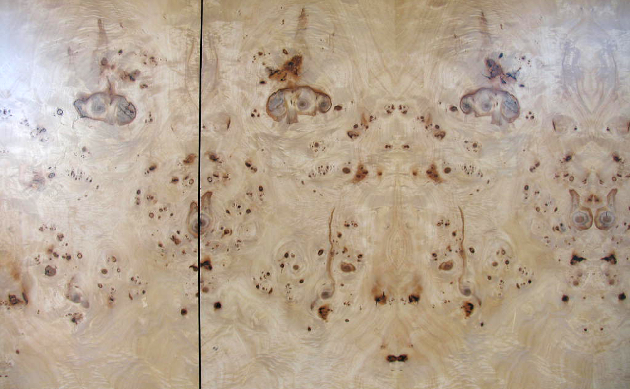 Maple burl built-in headboard