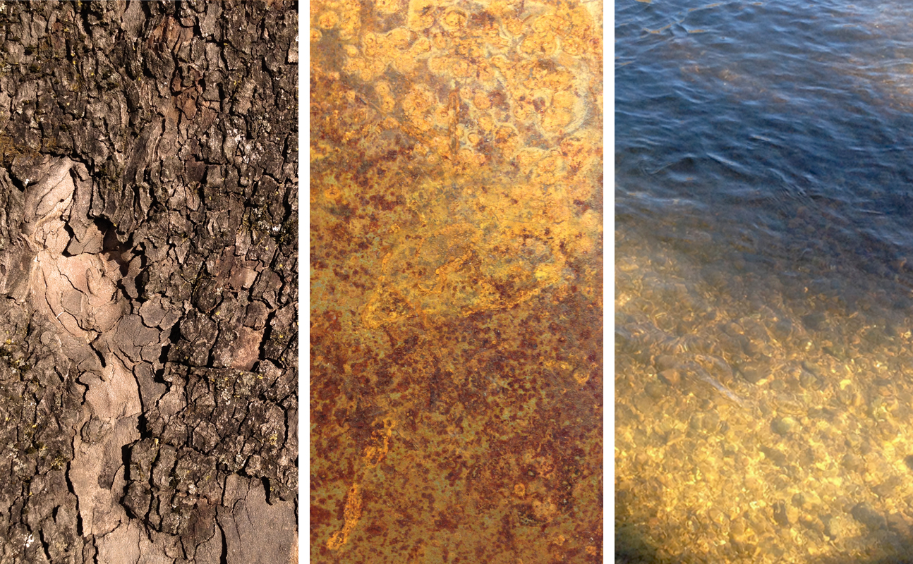 Found and introduced textures: sycamore trunk, weathering steel, river bed