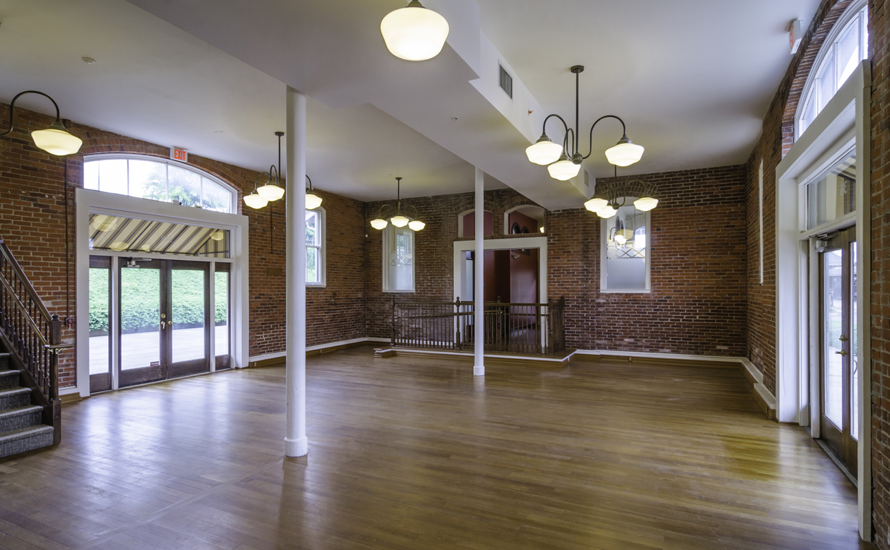 In 2012 the current owner, who has an interest in preserving and maintaining historic properties, purchased the building with the vision of using it as a banquet hall and events space. The renovation strategy was to provide as much open space as possible while maintaining the original historic character of the building.