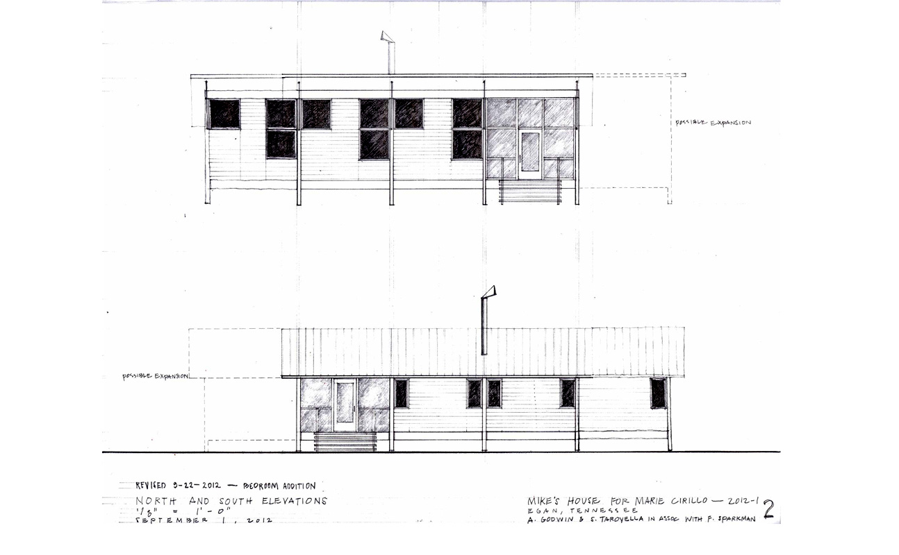 Elevations of Mike's House, with large operable windows facing south, smaller operable windows facing north, and a large overhang for summer shading. The operable windows, high ceiling, and narrow depth of the house allow effective cross- and stack-ventilation.