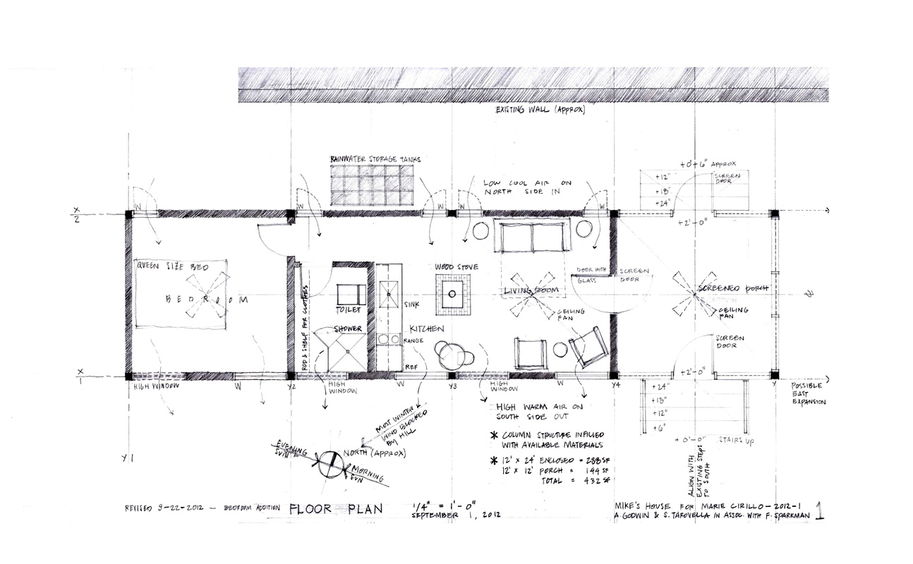 Floor plan of Mike's House, structured for minimal site disturbance and to allow future expansion.