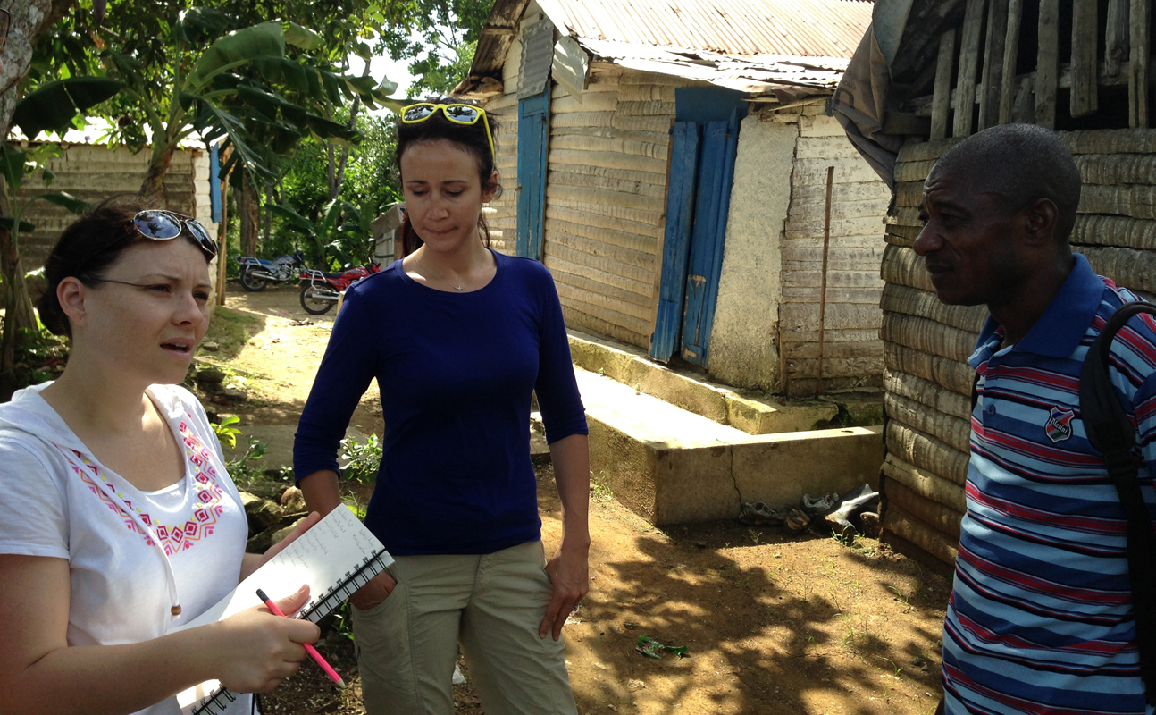Susanne Tarovella with Edrix of the Association of Peasants of Fondwa, discussing local building practices in Fondwa, Haiti