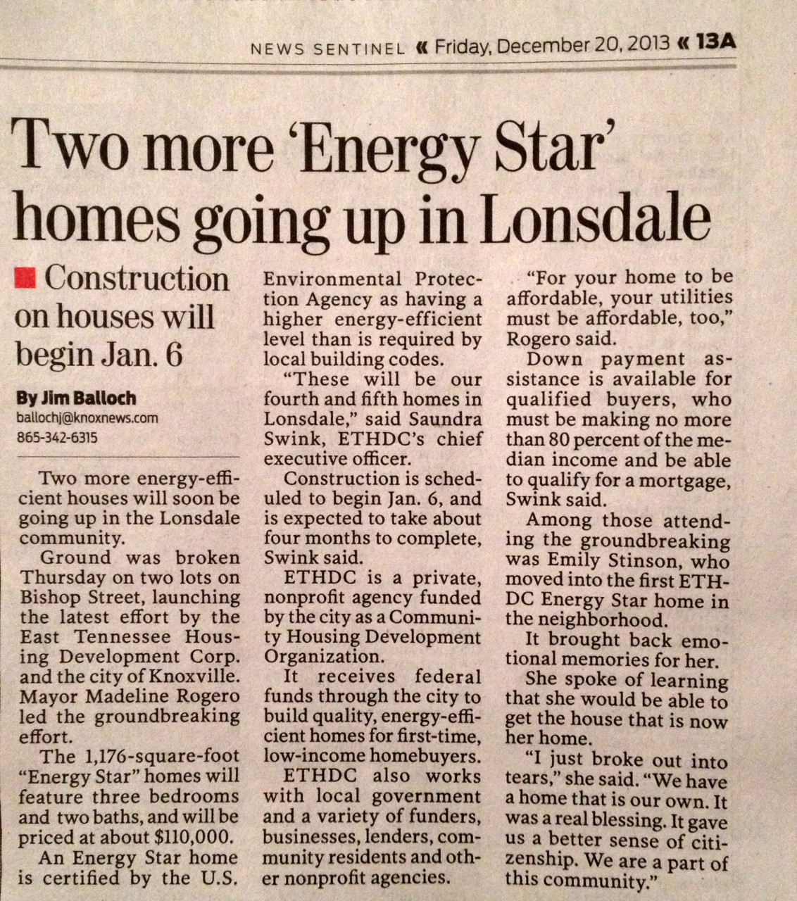Knoxville News Sentinel article published December 20, 2013