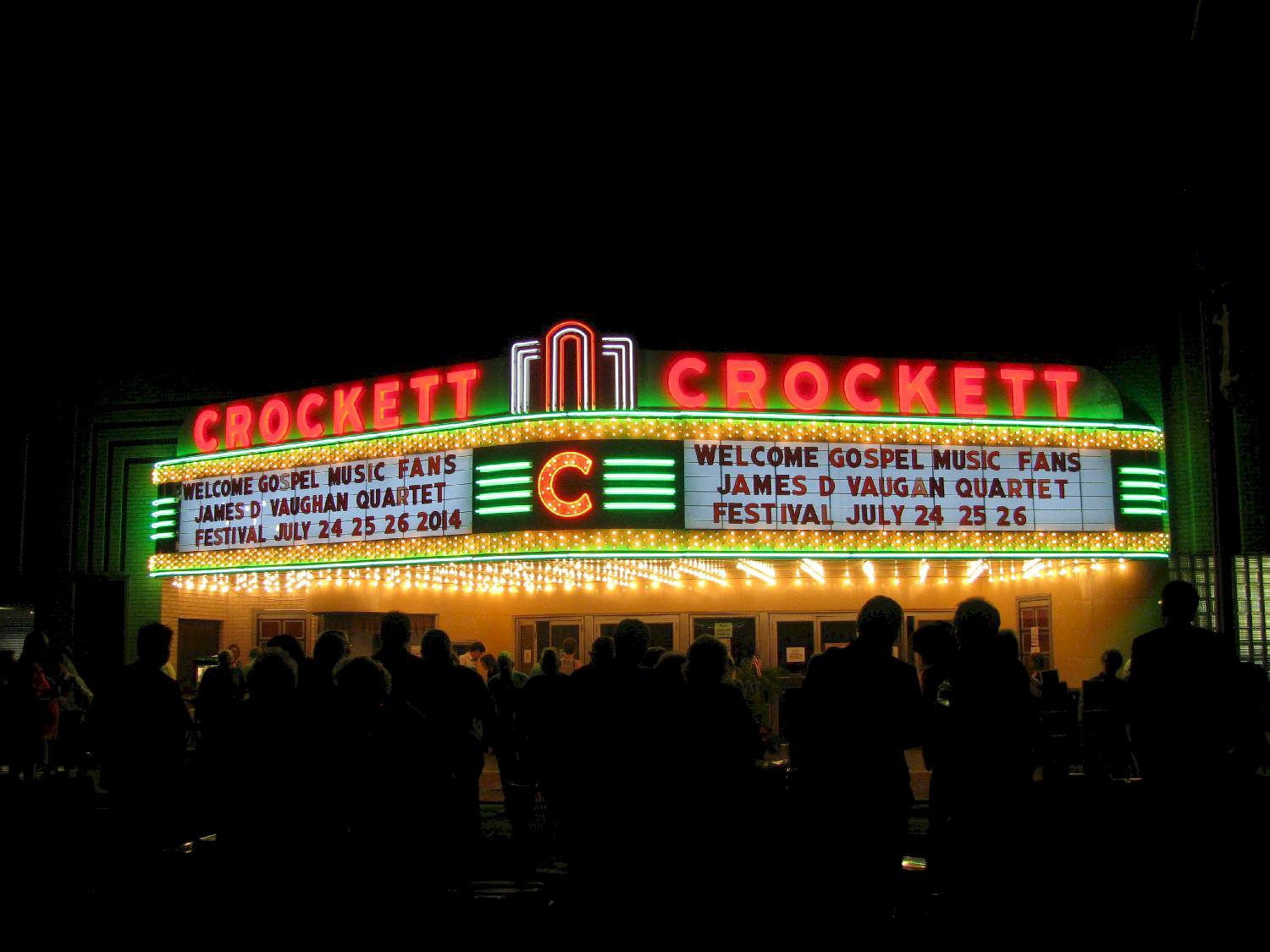 Restored marquee at night