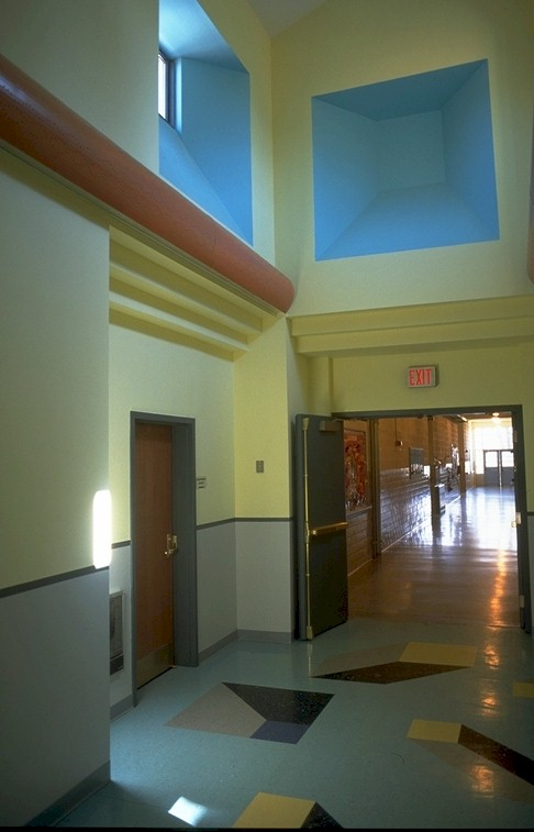 Entry hall into kindergarten classroom wing.