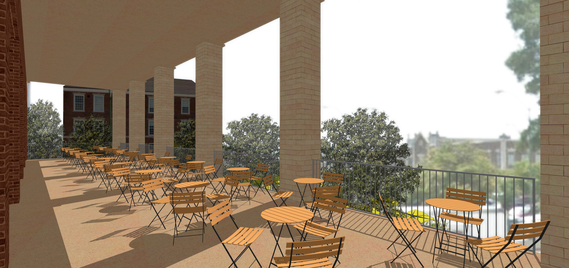 Second floor terrace design rendering